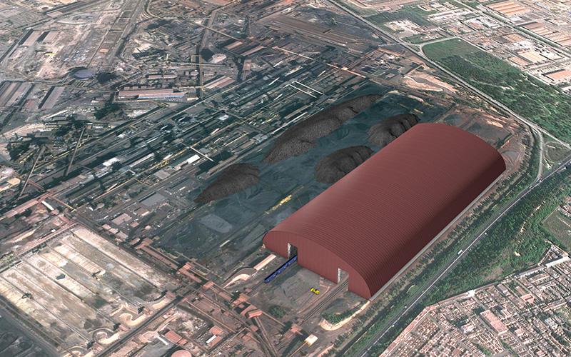 Progetto della copertura parchi minerali Ilva, planivolumetrico pubblicato sul sito web della ditta Cimolai Spa